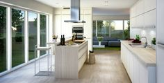 isla pequeña de madera en la cocina moderna