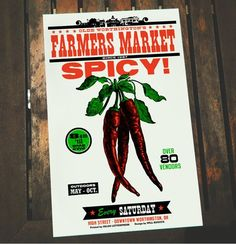 SPICY Letterpress Farmers Market 11 x 17 Poster art print | #farmersmarket #peppers #farmersmarket #letterpress #letterpressposter #art Canning Jar Labels, Vintage Seed Packets, The Buckeye State, Husband Love, Letterpress Printing, Is 11, Farmers Market, Screen Printing, Spicy