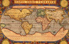 Vintage look 1601 old world map ortelius photo perfect wall travel art picture Antique World Map, Old World Maps, Old Maps, Antique Maps, Artistic Wallpaper, Map Wallpaper, Serious Game, Map Globe, Art Pictures