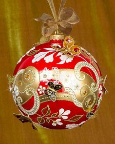 H8LF1 Jay Strongwater Floral Scroll Artisan Christmas Ornament
