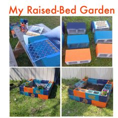 My first try at a raised-bed, cinder block garden. I decided to paint and stencil it, and I will be planting tomatoes, lettuce, and lots of herbs.