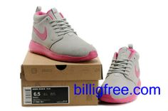 Verkaufen billig Schuhe Damen Nike Roshe Run (Farbe: Vamp - grau, innen, Sohle, Logo - pink) Online in Deutschland.