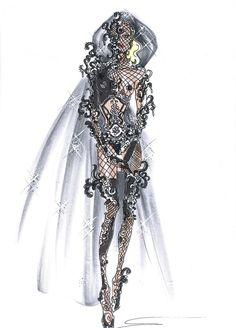 Giorgio Armani Sketches for Lady Gaga American Idol Performance: Lady Gaga Outfits, Lady Gaga Fashion, Fashion Art, Fashion Tips, Lady Gaga Costume, Queen Costume, American Idol, Giorgio Armani, Dress Sketches