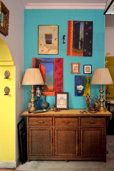 My WoodWicker Sideboard waiting to get a makeover at the Asian Paints Woodtech Studio Indian Inspired Decor, Indian Home Decor, Decorating Blogs, Interior Decorating, India Decor, Asian Paints, Sideboard, Painted Furniture, Gallery Wall