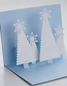 cut out tree paper christmas card idea