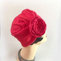 Red Fleece Turban Flapper Style Hat Warm Winter by TheWaughdrobe