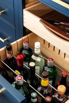 We're spotlighting 38 chic home bar ideas to inspire you. Whether you want to build out a home bar, or just want to turn part of your kitchen counter into one, we've got ideas to help you make it happen below. Glass Wall Shelves, Glass Cabinet Doors, Library Ladder, Home Bar Designs, Billiard Room, Wine Fridge, Throw A Party, Bars For Home, Home Furnishings