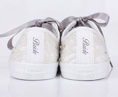 cd30d9fc3ae Bride Heel Tags on Lace Converse! Perfect Wedding Converse Groom Converse