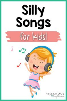 Silly songs for kids to make them smile! Whether it's a stressful day or you just need a dance break in the classroom or home, these silly songs are sure to be the perfect thing! Spring Songs For Kids, Silly Songs For Kids, Color Song For Kids, Silly Songs With Larry, Popular Kids Songs, Kids Songs With Actions, Transition Songs, Circle Time Songs, Quiet Time Activities