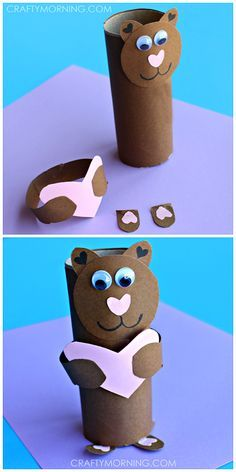 Toilet Paper Roll Crafts - Get creative! These toilet paper roll crafts are a great way to reuse these often forgotten paper products. You can use toilet paper rolls for anything! creative DIY toilet paper roll crafts are fun and easy to make. Valentine's Day Crafts For Kids, Toddler Crafts, Preschool Crafts, Diy For Kids, Children Crafts, Craft Kids, Bear Valentines, Valentine Day Crafts, Holiday Crafts
