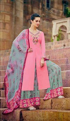 Pink color cotton palazzo salwar kameez