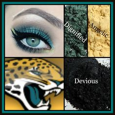 Jacksonville Jaguars look created using mineral pigments Devious, Dignified, and Angelic. Complete the look with 3D Fiber Lashes! To order go to :www.smossmakeup.com