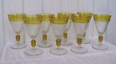 LOT 8 Duncan & Miller Spiral Flutes #40 YELLOW FLASH Water Goblet Glass Tumbler #duncanMiller