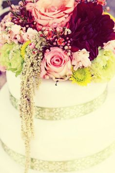 Flower Topped Cake // Blush Photography