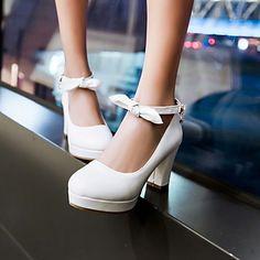 Calçados Femininos - Saltos - Saltos / Arrendondado - Salto Grosso - Preto / Rosa / Roxo / Branco - Courino - Social de 3036365 2016 por R$152,36