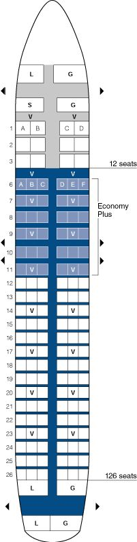 united airlines airbus a320 jet seating map aircraft chart