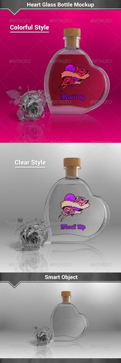 Heart Glass Bottle Mockup by Fusionhorn Features1 Full Layered PSD File 74005100px / 300dpi Colorful