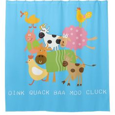 Shop Farm Animals Cow Sheep Duck Goat Pig Chicken Shower Curtain created by Peacock_Cards. Funny Shower Curtains, Custom Shower Curtains, Kids Animals, Farm Animals, Funny Pigs, Kids Curtains, Sheep, Goats, Cow