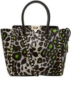Valentino Green Leopard Print Rockstud Ponyskin Bag $2547