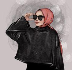 Hijabi Girl, Girl Hijab, Cartoon Girl Drawing, Girl Cartoon, Girl Pictures, Girl Photos, Hijab Drawing, Purple Wallpaper Iphone, Islamic Cartoon
