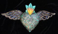 Green & Gun Metal Wood Heart Tin Wings Milagros Folk Art Michoacán Mexican Love