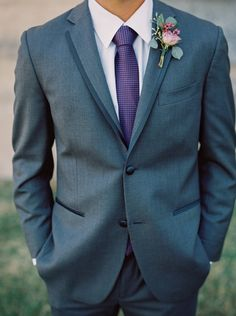 Boutonniere with lavender spray rose, wax flower and eucalyptus. Photo by Jessica Gold Photography.