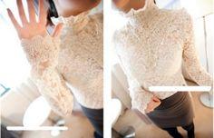 Elegant High Collar Lace Long Sleeve Blouse Apricot - $19.97 on @ClozetteCo