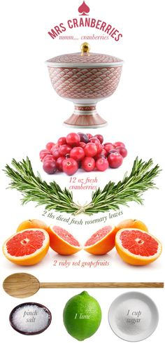 combine the sugar, grapefruit zest and juice, and the lime zest and bring to a simmer - then add the cranberries, rosemary and salt and cook for five minutes or until she glimmers