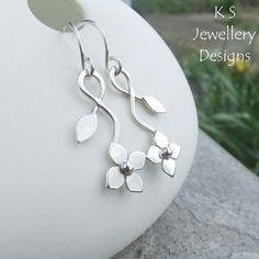 Flower and Leaf Sterling Silver Earrings - Metalwork Dangly Floral Earrings £32.00