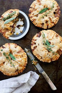 Butternut squash pot pie topped with flaky gluten free, vegan crust two ways: vegan with chickpeas or non-vegan with chicken and bacon. Winter comfort food.