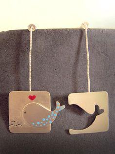 Unique Handmade Silver Earrings - Whale