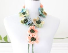 Rose and Olive Green Flower Lariat Necklace Scarf