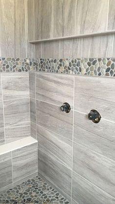 Shower floor ideas master bathroom shower ideas gray large format tile pebble shower floor and accent . Master Bathroom Shower, Bathroom Floor Tiles, Small Bathroom, Bathroom Ideas, Shower Ideas, Bathroom Remodeling, Bathroom Showers, Cream Bathroom, Basement Bathroom