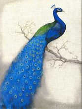 [GTT] Blue Peacock , Animal Unframed Beautiful Picture Oil Painting On Canvas , Waterproof For Home Decorating(China (Mainland))