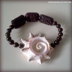 Conch Shell, Lava Rocks and gemstone beads bracelet  Sun by RumCay, $18.95