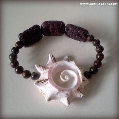 Conch Shell, Lava Rocks and gemstone beads bracelet  Sun by Rum Cay Island Jewelry