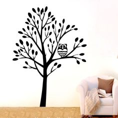 Custom Color Large Jungle Owl Tree Wall Art Stickers Vinyl Decal Home Kids Decor Mural DIY Nursery Room Wall Sticker D-56