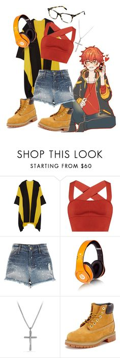 """Saeyoung genderbend"" by neon-life ❤ liked on Polyvore featuring Victor Alfaro, Khaite, River Island, Beats by Dr. Dre, David Yurman, Warby Parker, Timberland, fandom, Game and genderbend"