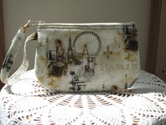 Shabby Chic Clutch Wristlet Zipper Gadget Pouch Smart Phone Bag in Scenes of Paris in Sepia - pinned by pin4etsy.com
