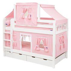 Hot Shot Girl Twin over Twin Deluxe Tent Bunk Bed - Twin over Twin Bunk Beds at Simply Bunk Beds