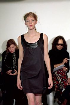 Ocimar Versolato | Spring 2000 Ready-to-Wear | 10 Black strappy mini dress with leather collar