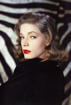 Lauren Bacall | 1940s hair + make up beauty | notice her hair color