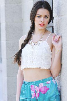 Raga Crochet Crop Cami in WHITE