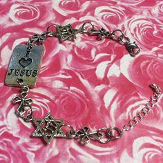 Christian Bracelet  Cross Bracelet  Silver  by ChristianJewelry4U, $10.99