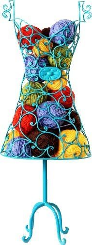 So cute!  I love dress form-inspired decor.  <3   knitting stash