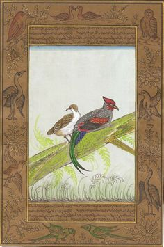 Indian Nature Bird Miniature Painting. Don't miss the opportunity to own this superb handmade painting of a pair of wild hen. Each talon and feather is colorfully painted and enclosed in an intricate border, all of which brings out the exceptional quality of this miniature art from India.