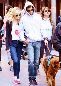 Emma Stone & Andrew Garfield with their adorable dog Ren at the 2013 EIF Revlon Run Walk For Women in New York (May 4)