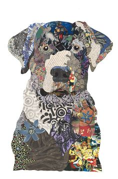 Dog Quilts, Animal Quilts, Animal Art Projects, Magazine Collage, Collage Techniques, Dog Crafts, Abstract Animals, Sewing Art, Dog Paintings