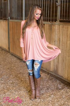 This beautiful flowing blouse is so perfect for all of your fall adventures! We are in love with the soft blush fabric - it's simply divine for a relaxing day of shopping on a breezy fall afternoon!