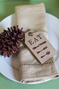 Eat! Cute woodsy place setting.